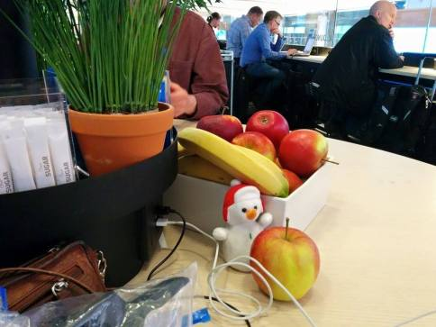 We have an unofficial mascot named Frosty – and he likes to try new foods and hide a lot. Here he is enjoying an apple in the SAS lounge at the Oslo airport during our 5-hour layover, and before our flight to Longyearbyen was cancelled!